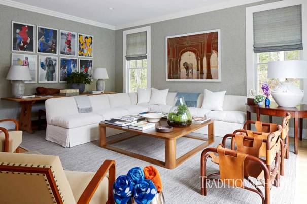 Family Room with Sectional, Oversized Coffee Table, Two-toned Gray Grass-cloth Wallcovering, Vintage Leather Chairs. Brian Grady & Franco Biscardi