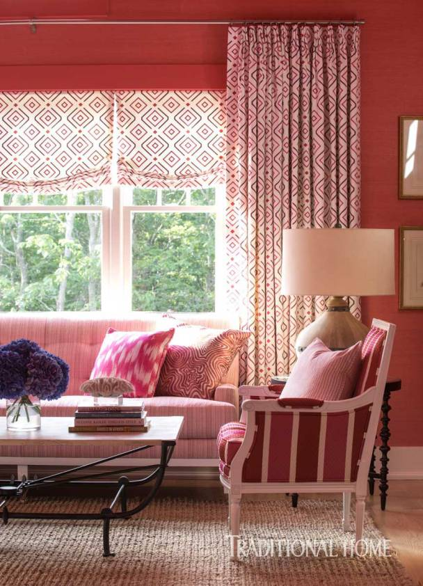 Guest Bedroom Dressed in Pretty Shades of Pink. Wallcovering by Thibaut, Fabrics by Duralee. Brian Patrick Flynn