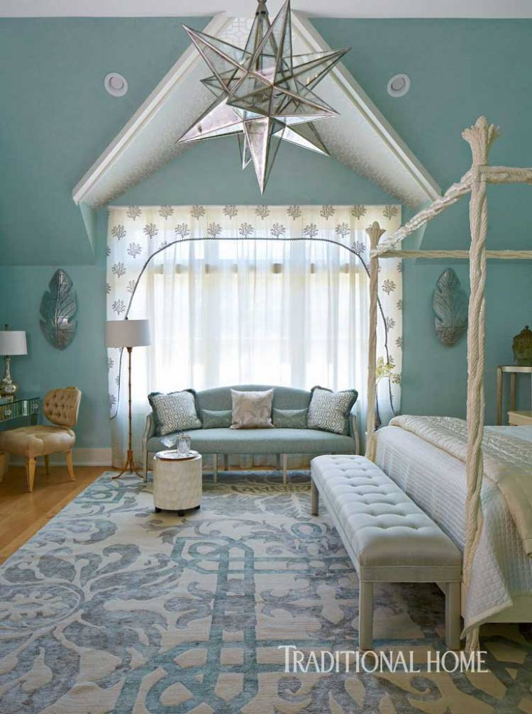Guest Bedroom Dressed in Seaside Hues. Walls Finished in Pratt & Lambert Chervil #22-30. Elizabeth Hagins Interior Design