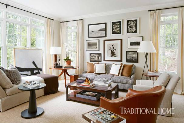 Masculine & Coastal Library with China White Walls by Pratt & Lambert. Robert Brown Interior Design