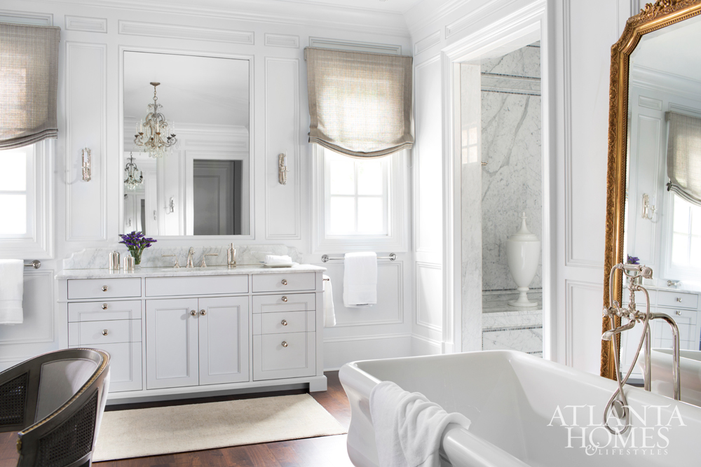 dramatic scale master bath with antique floor mirror karen ferguson