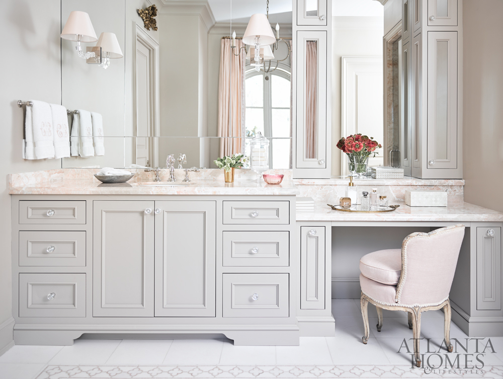 Bath Trends luxury bath trends 2017-vanity w-pink desert marble tile, courtney