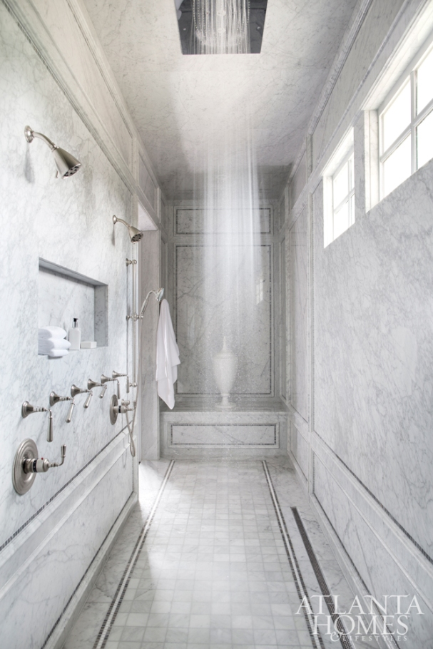 Long Walk-in-Shower with Blue-Gray Bianco Carrara Marble Walls, Karen Ferguson