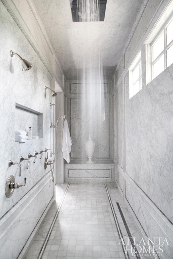 Long Walk-in-Shower with Blue-Gray Bianco Carrara Marble Walls, Karen Ferguson