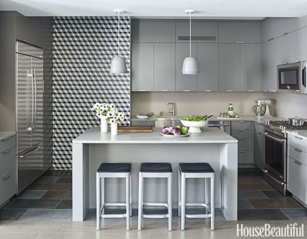 Modern Kitchen with Caesarstone Honed Pebble Surface Countertop & Backsplash, Tyler Pankratz