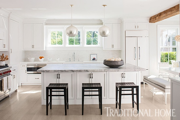 Open White Kitchen with Beam, Cynthia Hayes Interior Design
