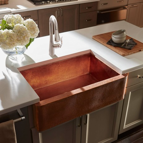 Gari Handcrafted Farmhouse Sink, Rose Gold Finish, Thompson Traders