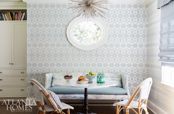 Breakfast Nook with Pale Blue Zepher Wallcovering, Phillip Jeffries, K Kong Designs
