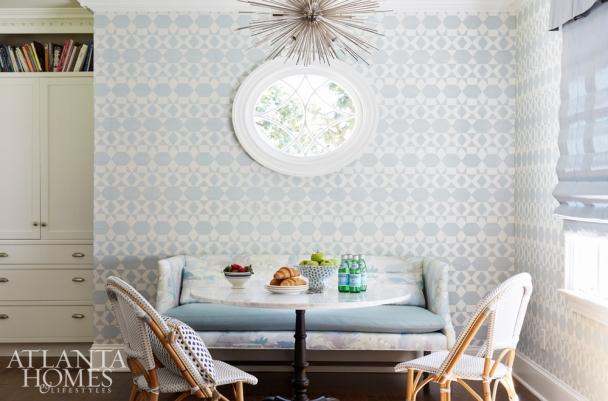 Breakfast Nook with Pale Blue Zepher Wallcovering, Phillip Jeffries, K Kong Designs