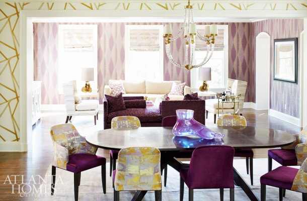 Living Room Walls Treated with Umi Wallpaper by Zoffany, Dining Room with Sumi by Harlequin