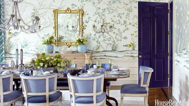 Deep Purple Gloss Door Adds Drama to this Traditional Dining Room