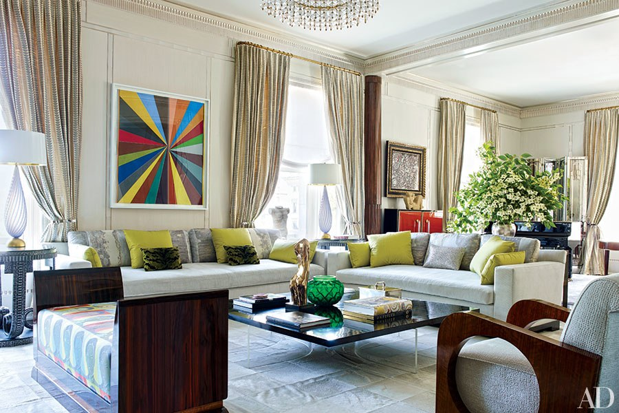 Living Room with Bold Color Accents, Susanna Maggard Interiors