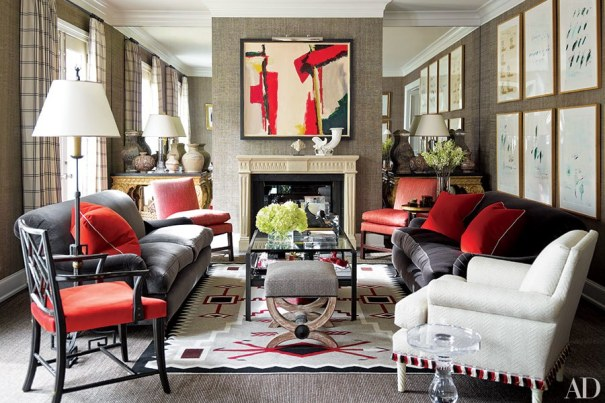 Living Room with Splashes of Color on Gray Palette, J. Randall Powers