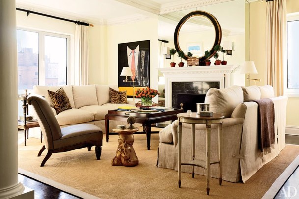 Living Room with Deep Browns Balanced with Neutrals, Larry Laslo