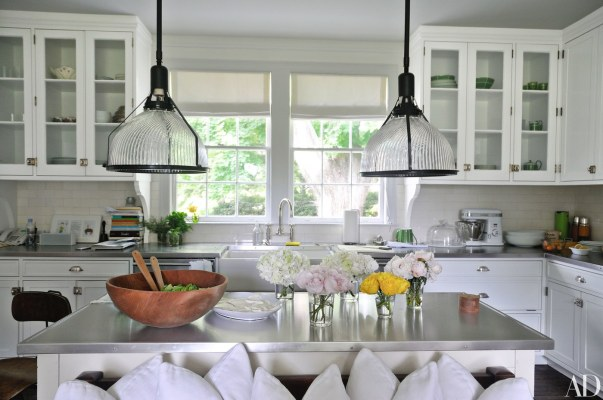 New Kitchen Cabinetry, Vintage Holophane Pendant Lights and Sink Fittings Fit the Era of this Home, Reed & Delphine Krakoff