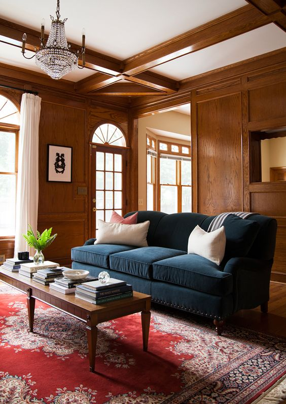 Deep Color Fabrics & Wood Tones Invite Warmth into this Living Room, Arhaus