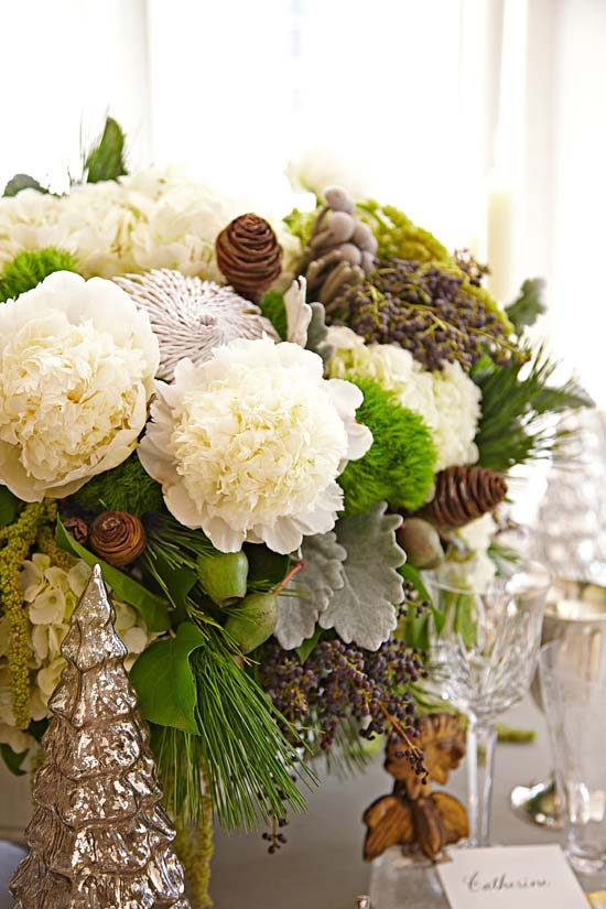 Gorgeous Fresh Cut Flowers, Peonies, Ranunculus, White Hydrangeas Mixed with Pinecones, Ornaments and Branches, Lonnie Paul
