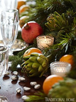 Amazing Scented Centerpiece with Cinnamon Sticks, Satsuma Oranges, Pomegranates, Olive Branches, Evergreen, Magnolia Leaf Garland, Lonnie Paul, Traditional Home