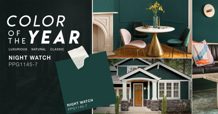 ppg night watch, coty2019, color trends 2019